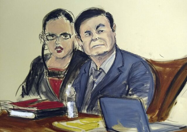 In this courtroom sketch, Joaquin El Chapo Guzman, right, is seated at the defense table with his interpreter, in the U.S. trial of the infamous Mexican drug lord, in New York, Monday Feb. 4, 2019.