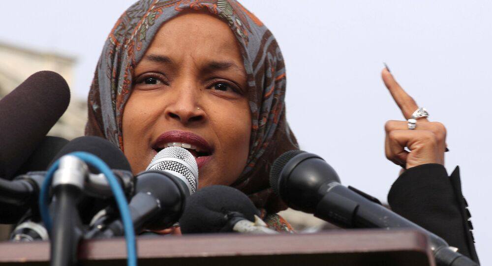 U.S. Representative Ilhan Omar (D-MN) participates in a news conference to call on Congress to cut funding for ICE (Immigration and Customs Enforcement), at the U.S. Capitol in Washington, U.S., February 7, 2019.