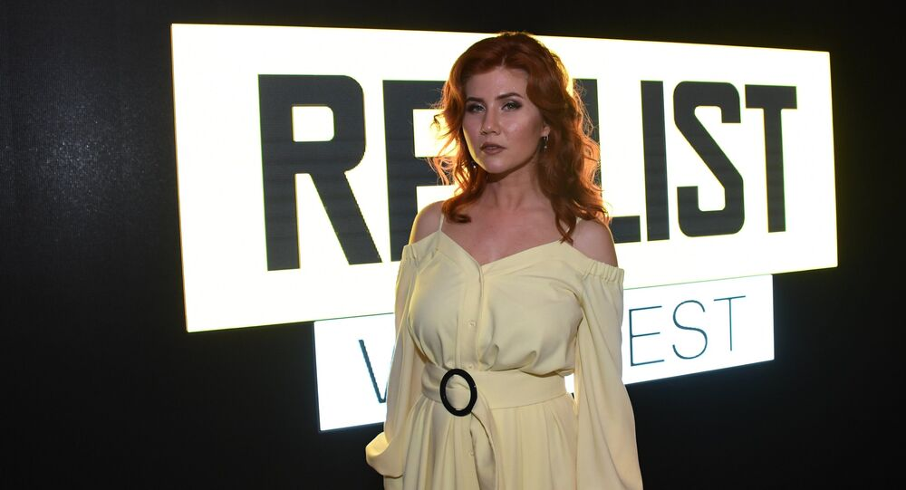 TV hostess Anna Chapman at the opening ceremony of the first international festival of digital and web series 'Realist Web Fest' in Nizhny Novgorod