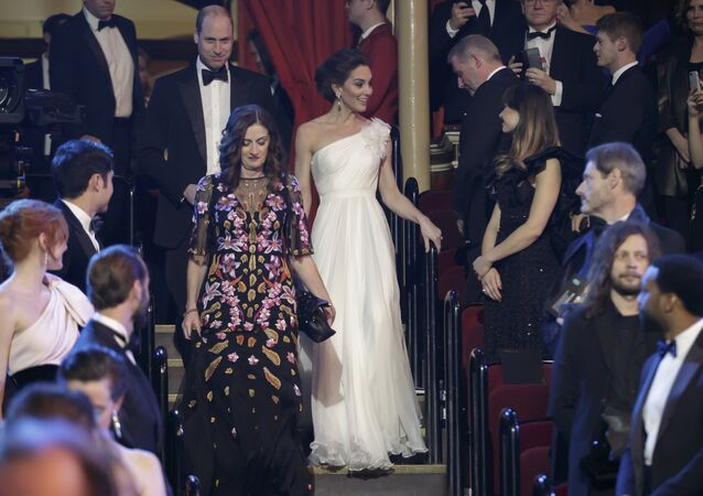 Britain's Prince William and Kate, Duchess of Cambridge arrive for the BAFTA 2019 Awards at The Royal Albert Hall in London, Sunday Feb. 10, 2019