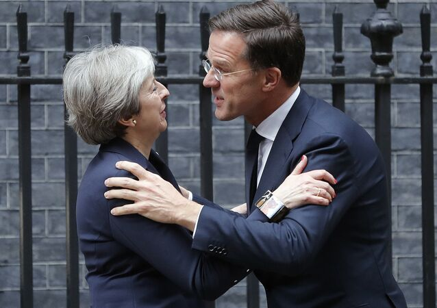 Britain's Prime Minister Theresa May meets Netherlands Prime Minister Mark Rutte for a bilateral talks at 10 Downing Street in London, Wednesday, Feb. 21, 2018.