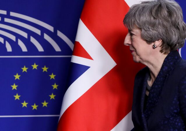 British Prime Minister Theresa May looks on at the EU parliament headquarters in Brussels, Belgium February 7, 2019.