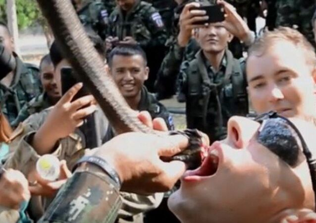 US Army Specialist drinks cobra blood in Thailand