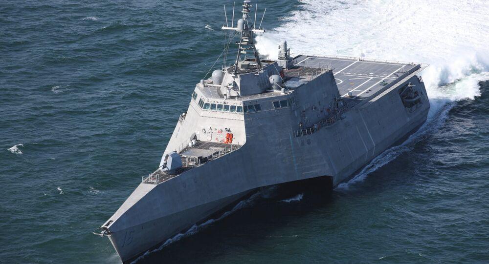 Independence-class littoral combat ship USS Tulsa undergoing trials (US Navy handout)
