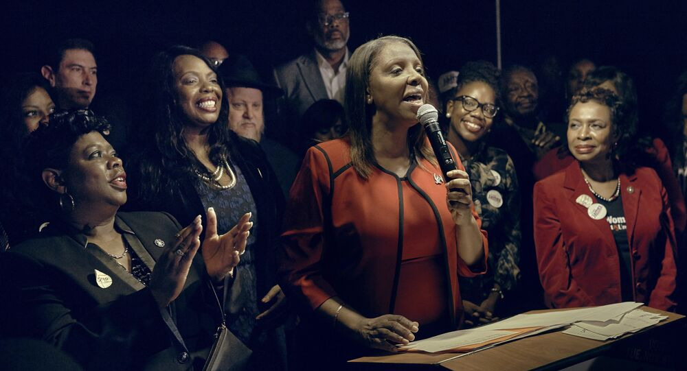 Letitia James, D-NY, speaks to supporters after winning the New York Attorney General's race in New York, the first African-American woman elected to hold statewide New York office as the state attorney general