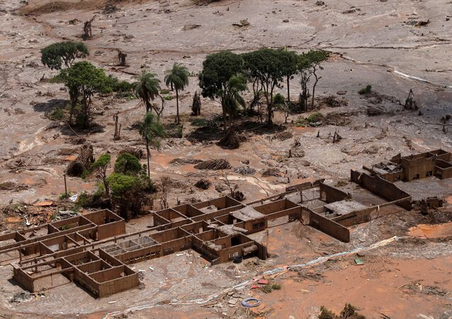 The debris of the municipal school of Bento Rodrigues district, which was covered with mud after a dam owned by Vale SA and BHP Billiton Ltd burst, is pictured in Mariana