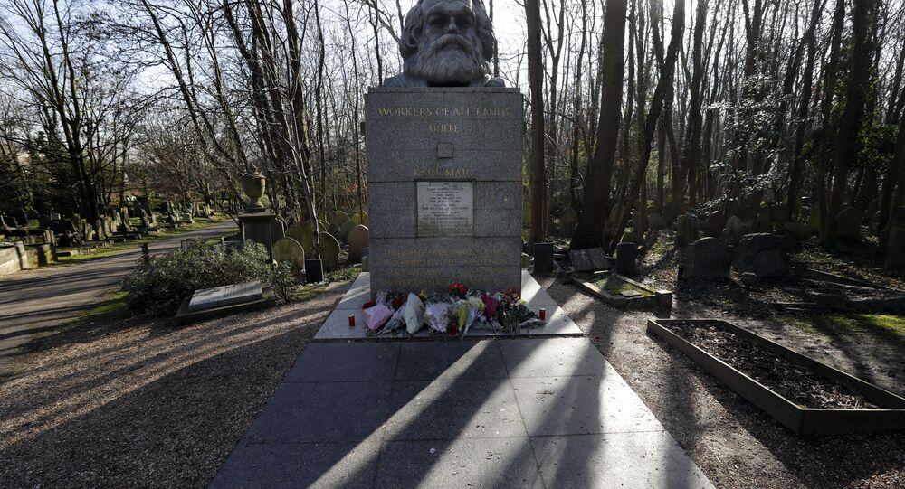 Karl Marx Grave in Highgate Cemetery in London