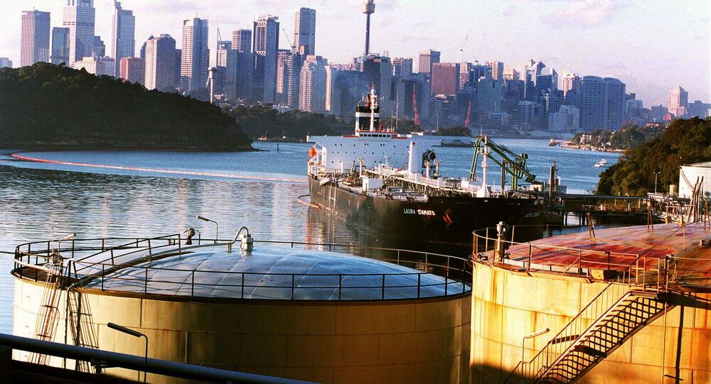 The Shell Oil terminal at Gore Cove in Sydney Harbor, Australia