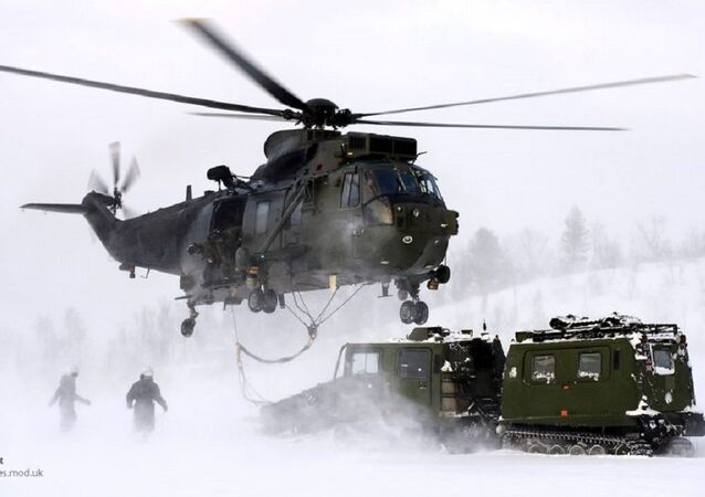 Royal Navy Sea King Mk4 Helicopter Takes Part in Arctic Flying Training