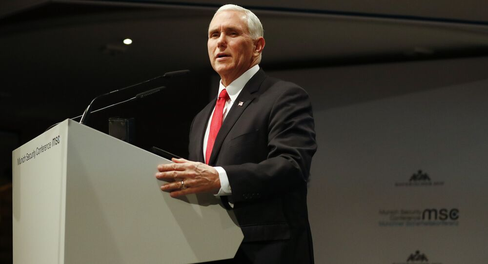 United States Vice President Mike Pence delivers his speech during the Munich Security Conference in Munich, Germany, Saturday, Feb. 16, 2019