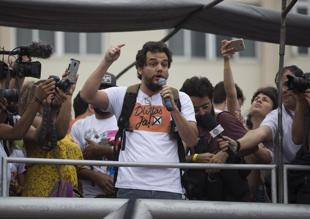 Wagner Moura - who starred in Narcos as Pablo Escobar - at a rally in 2017 against Brazil's then President Michel Temer