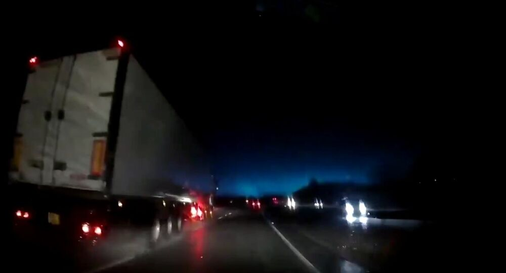 For some of our local followers who also saw a blue flash of light at 6:30am today this was my dashcam view captured on the A55 E/B at Northop