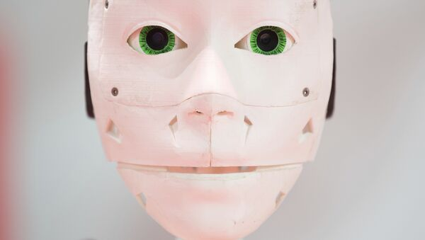 A robot face from a 3D printer, displayed by Vodafone at the technology fair CEBIT in Hannover, Germany, Monday, June 11, 2018 - Sputnik International