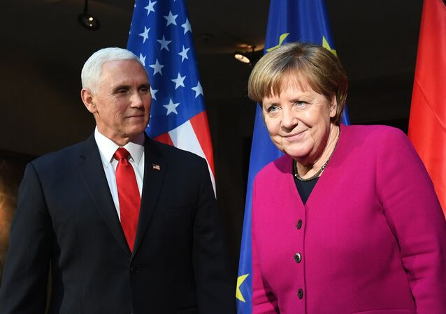 German Chancellor Angela Merkel (R) and US Vice President Mike Pence pose during a photo call at the 55th Munich Security Conference in Munich, southern Germany, on February 16, 2019