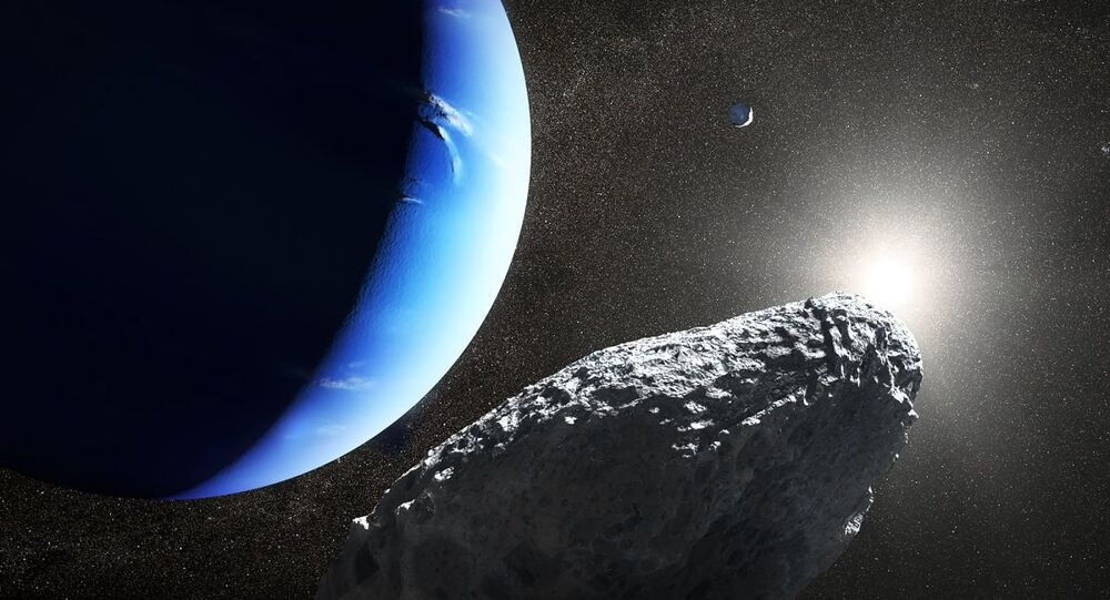 An artist's concept of the tiny moon Hippocamp