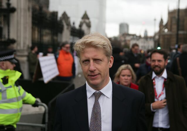 Conservative MP Jo Johnson (C), a former minister who resigned over Brexit, is seen outside the Houses of Parliament in central London on January 15, 2019