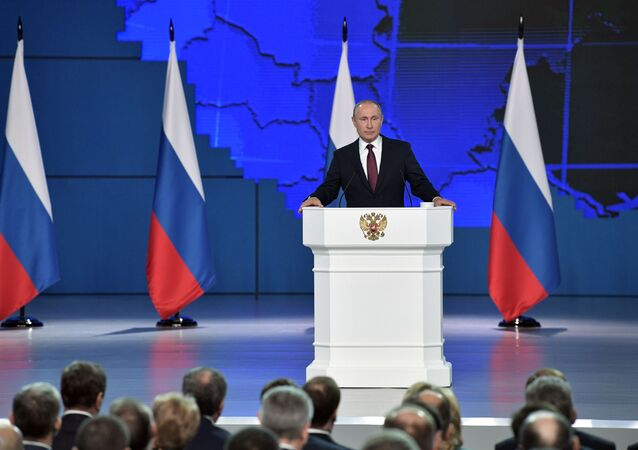 Vladimir Putin delivers his annual address to the Federal Assembly, 20 February, 2019.