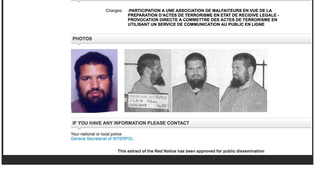 This Thursday, Sept. 22, 2016, screen grab from the Interpol wanted persons web page shows a red notice for Fabien Clain. Fabien Clain claimed responsibility on behalf of the Islamic State group for the Nov. 13, 2015, attacks in Paris in an audio recording released soon afterward