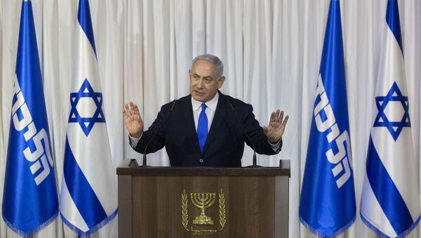Israeli Prime Minister Benjamin Netanyahu gestures as he delivers a statement in Ramat Gan, Israel, Thursday, Feb. 21, 2019. - Sputnik International