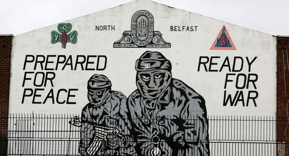 A mural supporting the loyalist Ulster Volunteer Force (UVF) is seen in north Belfast, on the 20th anniversary of the Good Friday Agreement on April 10, 2018.