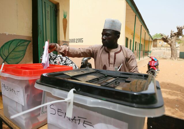 A man casts his vote during Nigeria's presidential election at a polling station in Kazaure, Jigawa State, Nigeria, February 23, 2019.