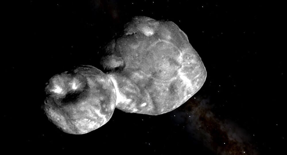 image of Ultima Thule, a trans-Neptunian object located in the Kuiper belt, taken by the unmanned NASA New Horizons spacecraft on Jan 1, 2019.