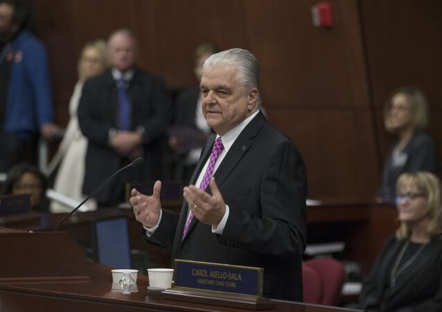Nevada Gov. Steve Sisolak delivers his first State of the State Address from the Assembly Chambers of the Nevada Legislature in Carson City, Nev., Wednesday, Jan. 16, 2019