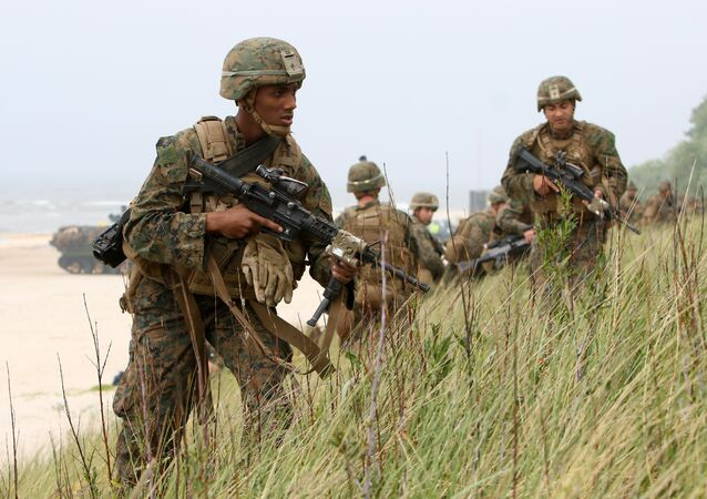US soldiers take part in the Exercise Baltic Operations (BALTOPS), a NATO maritime-focused military multinational exercise in Lithuania