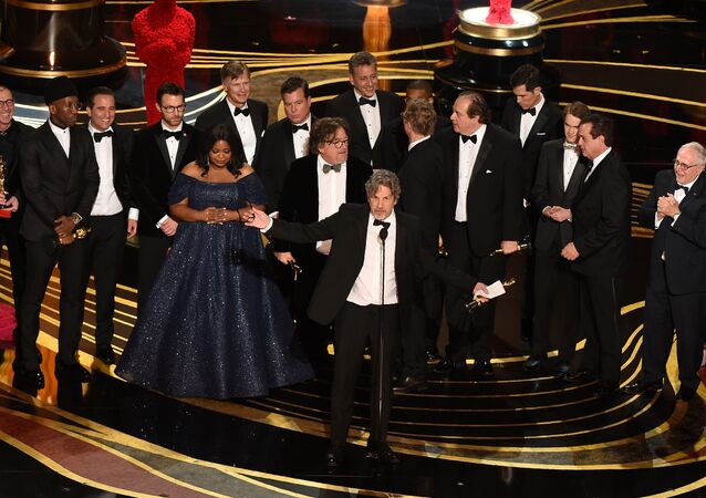 Producers of Best Picture nominee Green Book Peter Farrelly and Nick Vallelonga accepts the award for Best Picture with the whole crew on stage during the 91st Annual Academy Awards at the Dolby Theatre in Hollywood, California on February 24, 2019.