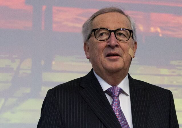 European Commission President Jean-Claude Juncker attends an event at the EU Charlemagne building in Brussels, Thursday, Feb. 21 2019