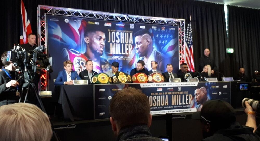 Anthony Joshua speaks out at a press conference in London for his upcoming fight with Jarrell Miller