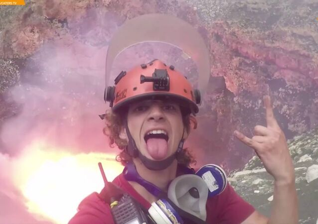 Fearless Adventurer Is This Close To The Heat Of A Real Volcano