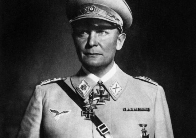 A photo taken during World War II showing Reichsmarshal Hermann Goering. Hermann Goering (1893-1946), was Commander-in-Chief of the Luftwaffe, President of the Reichstag, and initially Hitler's chosen successor