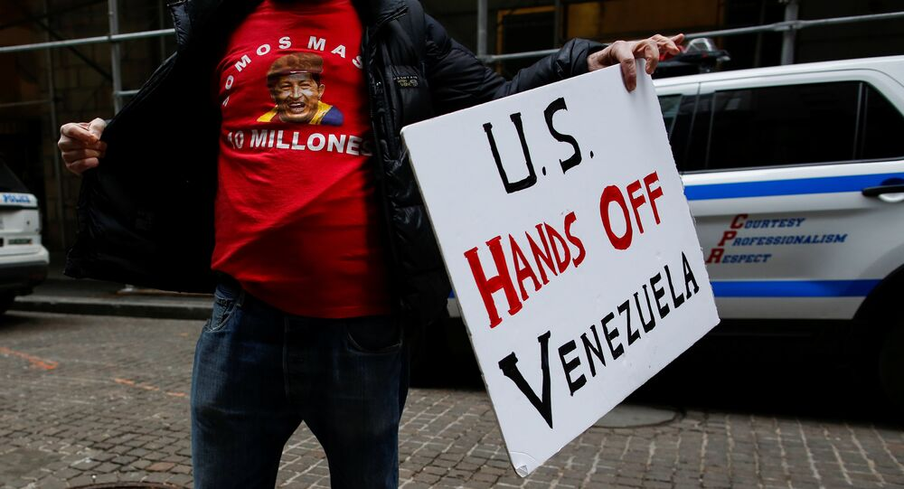 A man arrives to attend a protest against U.S. foreign policy on Venezuela outside the Trump Building in New York City, New York, U.S., February 23, 2019