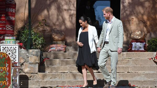 Prince Harry and his wife Meghan, Duke & Duchess of Sussex, visit the Kasbah of the Udayas near the Moroccan capital Rabat. on February 25, 2019 - Sputnik International