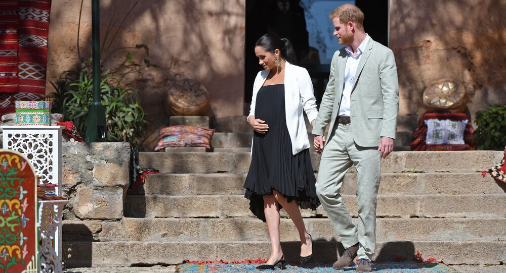 Prince Harry and his wife Meghan, Duke & Duchess of Sussex, visit the Kasbah of the Udayas near the Moroccan capital Rabat. on February 25, 2019