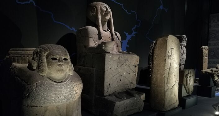 Statues sit as several of the key artefacts curated at the BP 'I Am Ashurbanipal' exhibition at the British Museum in London, UK.
