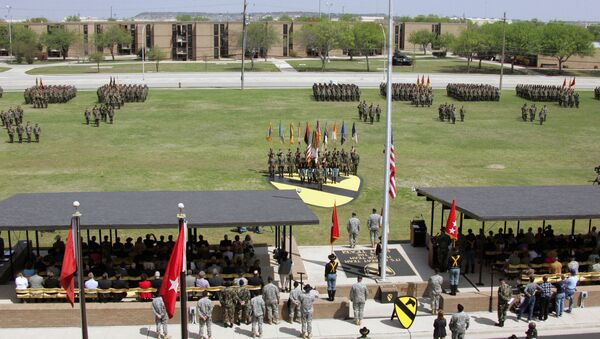 At Cooper Field, Fort Hood, Texas, the U.S. Army 1ST Cavalry Division Headquarters, a retirement ceremony is held for GEN - Sputnik International