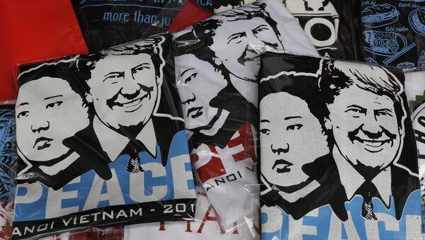 T-shirts with portraits of U.S. President Donald Trump and North Korean leader Kim Jong Un are displayed in a tourist area in Hanoi - Sputnik International