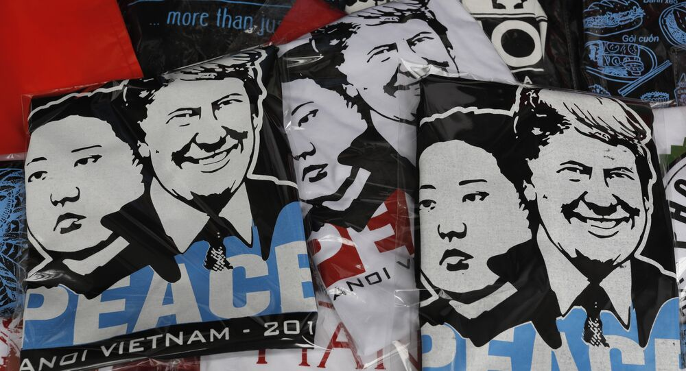 T-shirts with portraits of U.S. President Donald Trump and North Korean leader Kim Jong Un are displayed in a tourist area in Hanoi