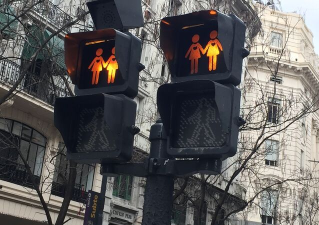 Traffic lights showing female same-sex couples