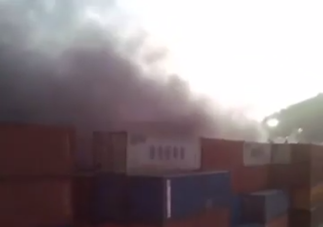 Warehouses are burning in port city of La Guaira, Venezuela