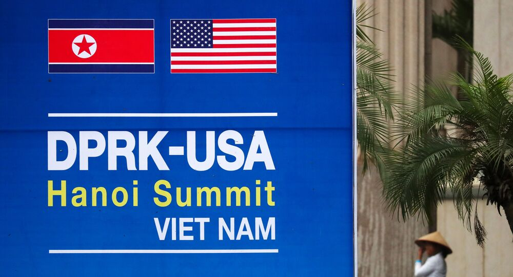 Billboard promoting the DPRK-USA summit