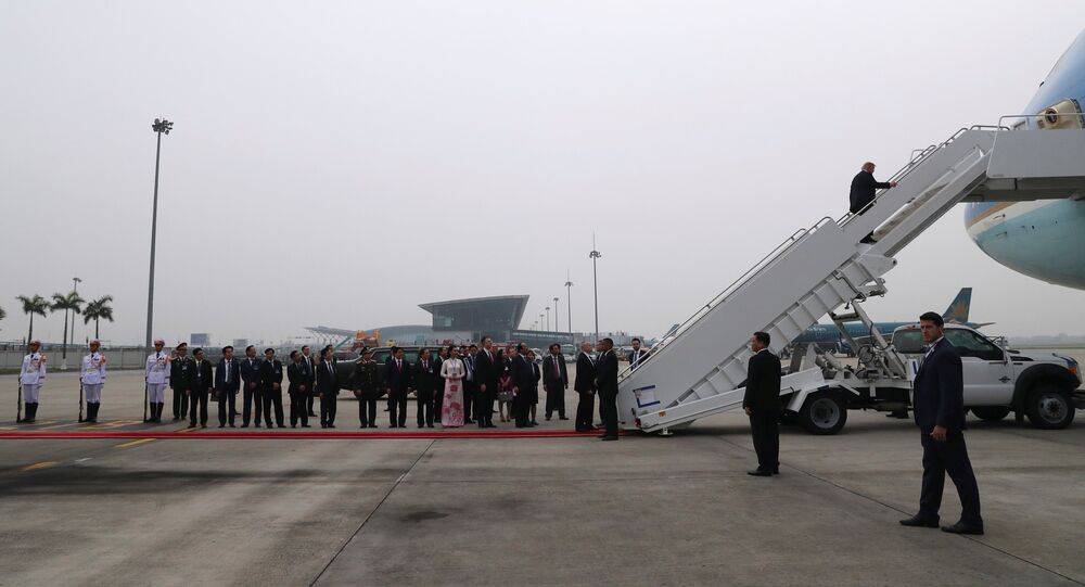 U.S. President Donald Trump boards Air Force One after his summit with North Korean leader Kim Jong Un, at Noi Bai International Airport in Hanoi, Vietnam, February 28, 2019