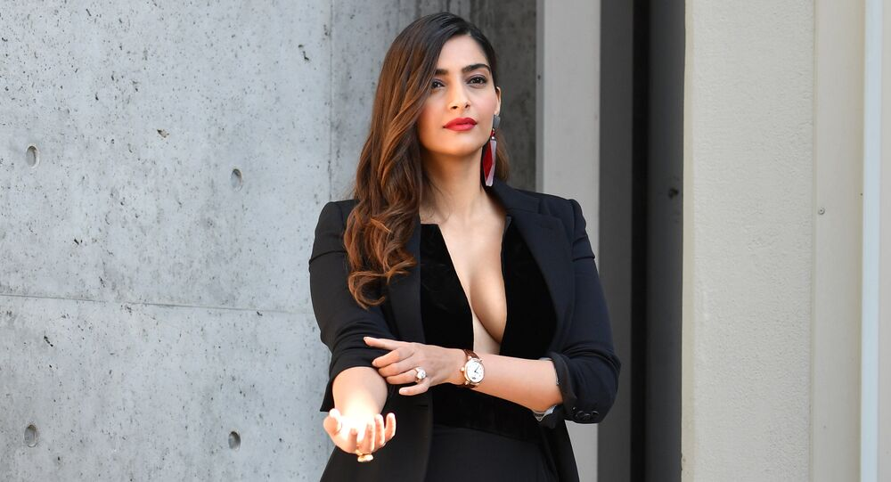 Indian actress Sonam Kapoor poses after attending the Armani fashion show, as part of the Women's Spring/Summer 2019 fashion week in Milan, on September 23, 2018