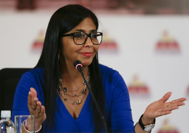 FILE- In this Aug. 28, 2017 file photo, Delcy Rodriguez, then president of the Constitutional Assembly, gives a press conference in Caracas, Venezuela. Venezuelan President Nicolas Maduro has named Rodriguez, on Thursday, June 14, 2018, as the country's new Vice President, replacing Tareck El Aissami, who will assume a new role as the government's top economic policy maker