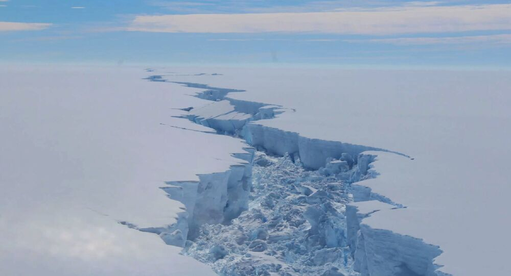 A screengrab made on July 14, 2017 from a video released by the British Antarctic Survey shows the rift in the Larsen C Ice Shelf, on the Antartic Peninsula, in February 2017.
