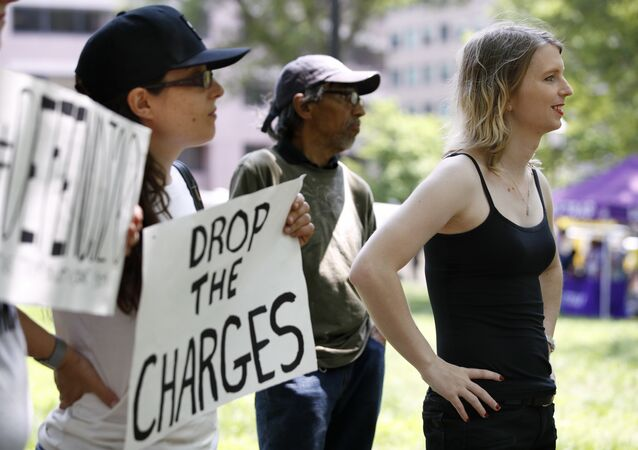 Chelsea Manning attends a rally in support of the J20 defendants