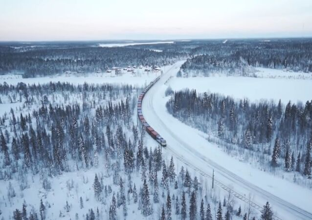 An artists' impression of the proposed Arctic railway from Rovaniemi in Finland to Kirkenes in Norway