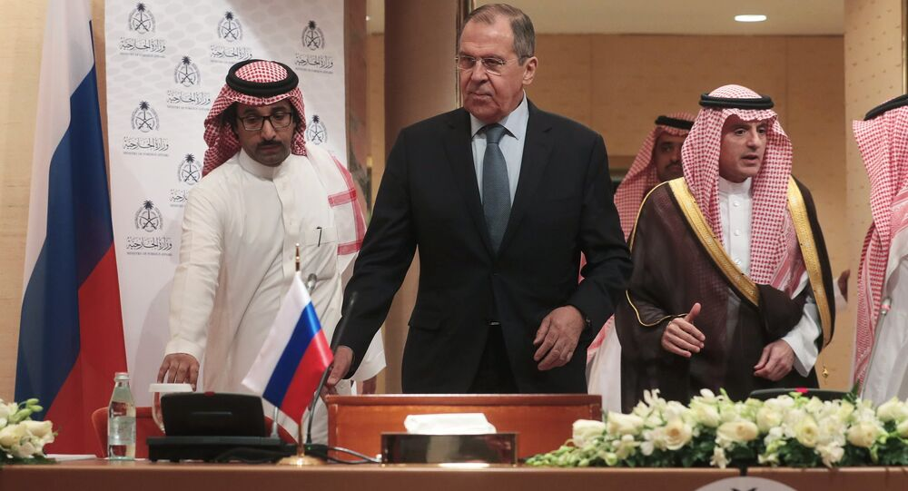 Russian Foreign Minister Sergey Lavrov with his Saudi counterpart Adel al-Jubeir during their meeting in Riyadh, Saudi Arabia